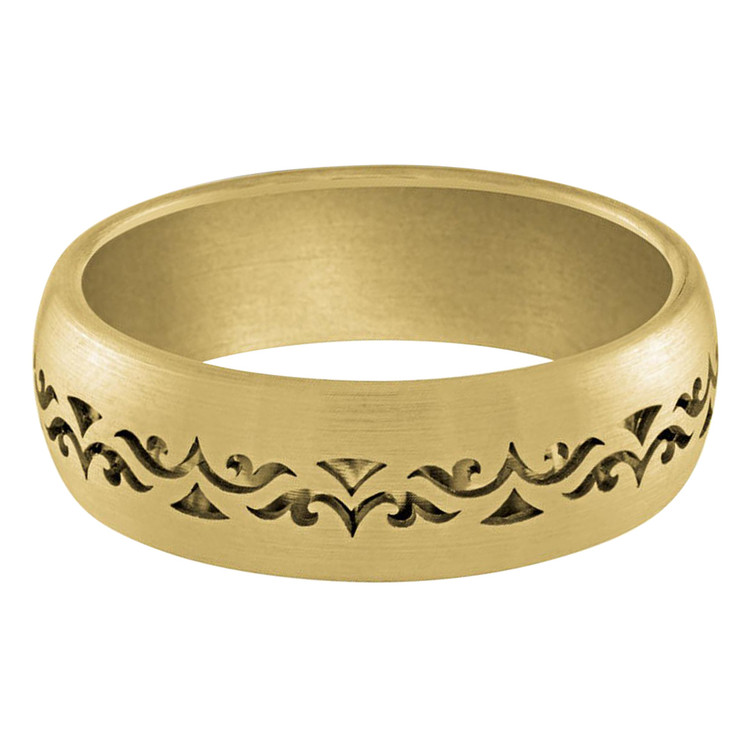 Mens 7 MM band comfortable all yellow solid gold interior and a patterned cut out exterior (MDVB0026)