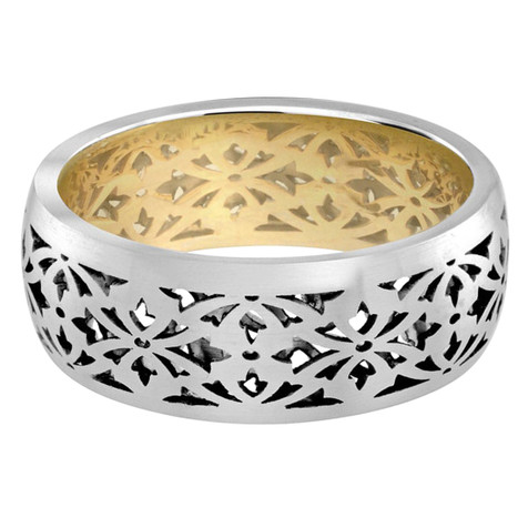 Mens 8 MM yellow gold interior and white gold exterior pattern cut-out band (MDVB0030)