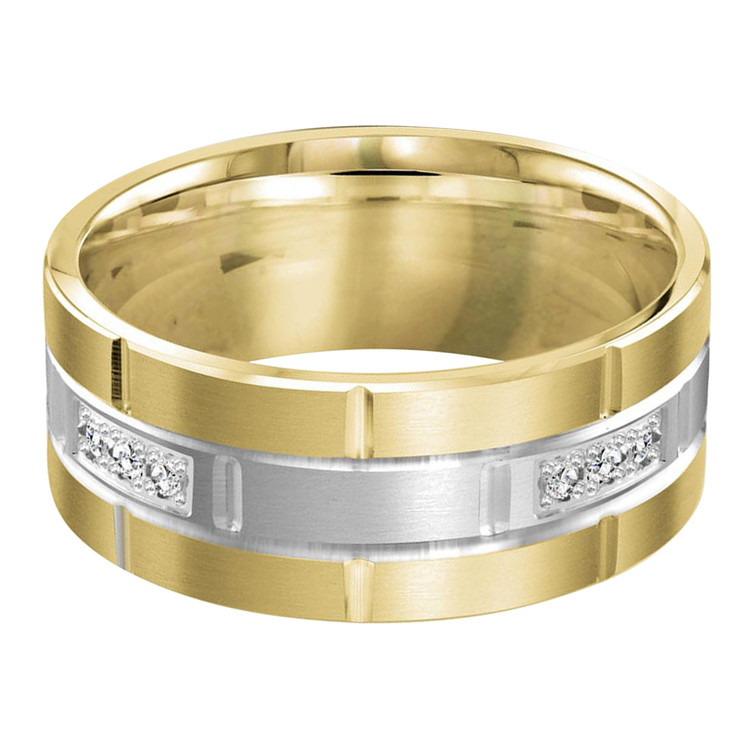 Mens 9 MM two-tone yellow and white gold brick motif band, embellished with 12 x .015 CT diamonds (MDVB0050)