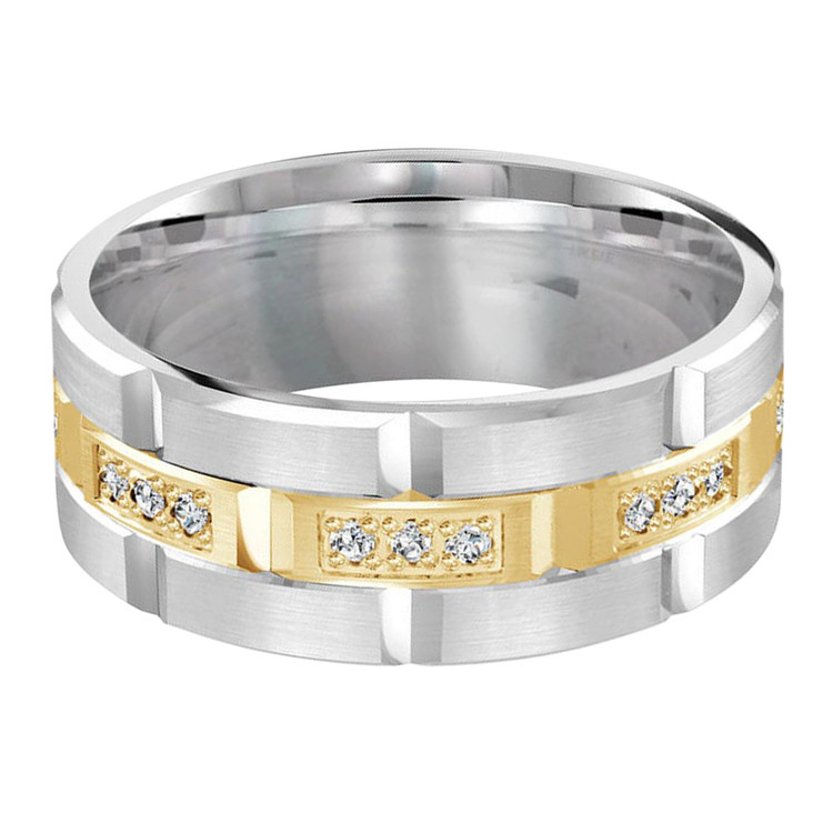 Mens 9 MM two-tone white and yellow gold brick motif band, embellished with 24 x .015 CT diamonds (MDVB0052)