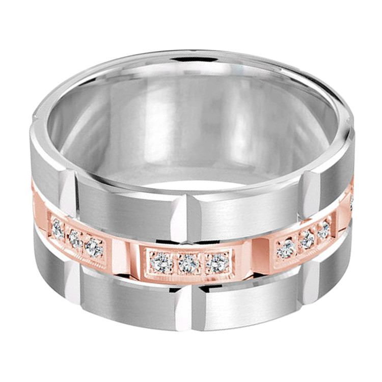 Mens 11 MM two-tone white and rose gold brick motif band, embellished with 24 X .015 CT diamonds (MDVB0055)