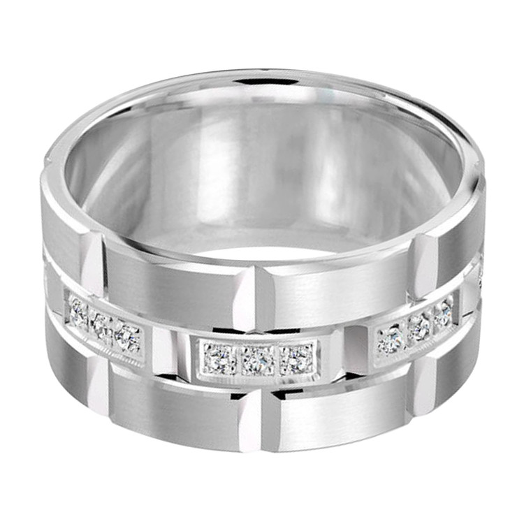 Mens 11 MM all white gold brick motif band, embellished with 24 X .015 CT diamonds (MDVB0056)