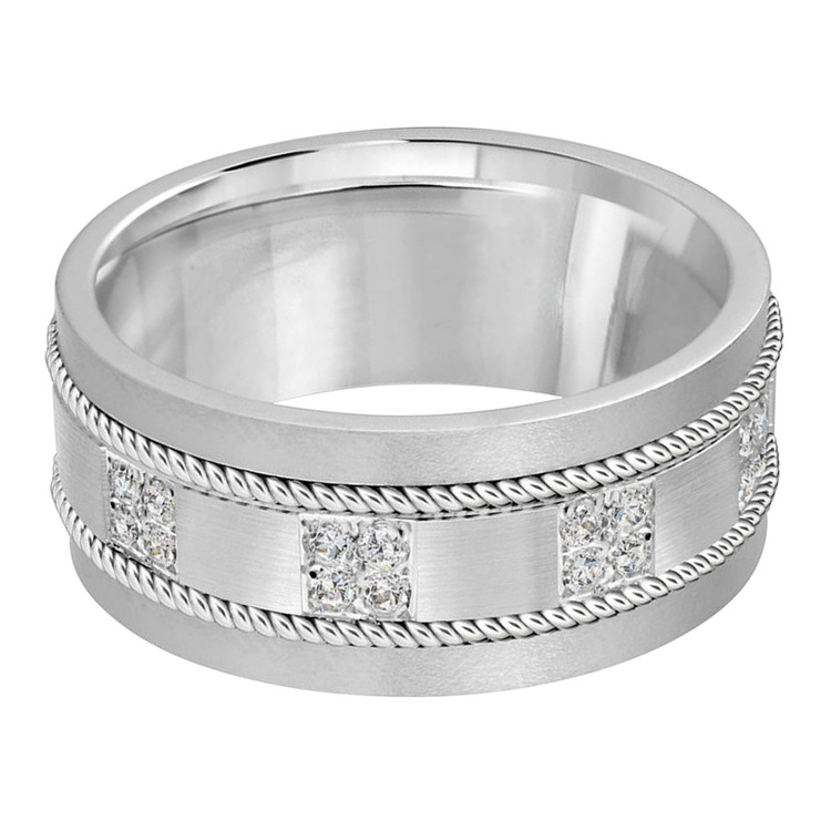 Mens 10 MM white gold brick motif band, embellished with 16 X .015 CT diamonds (MDVB0057)