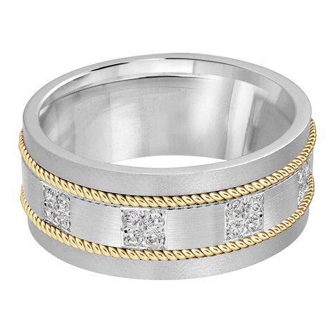 Mens 10 MM two-tone white and yellow gold brick motif band, embellished with 16 X .015 CT diamonds (MDVB0058)