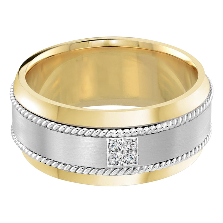 Mens 10 MM two-tone white and yellow gold band, embellished with 4 X .015 CT diamonds (MDVB0059)
