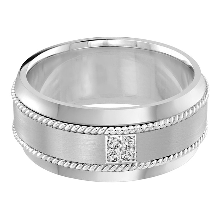 Mens 10 MM all white gold band, embellished with 4 X .015 CT diamonds (MDVB0060)