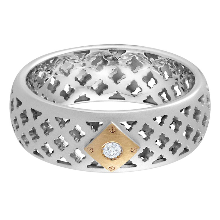 Mens 8 MM two-tone white and yellow gold band, with a gorgeous 1 X .035 CT diamond (MDVB0061)