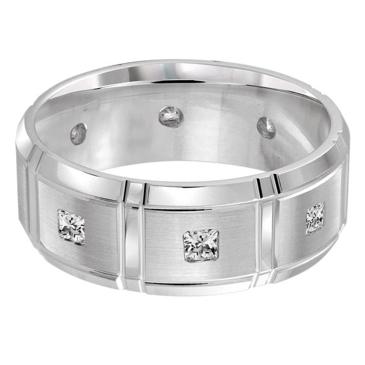 Mens 8 MM all white gold brick motif band, embellished with 8 X .05 CT diamonds (MDVB0062)