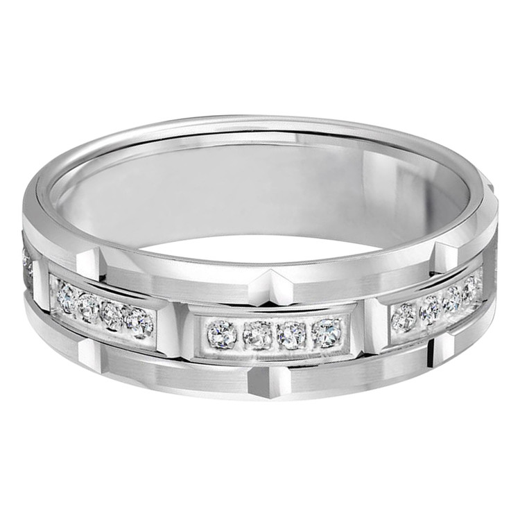 Mens 7 MM all white gold brick motif band, embellished with 32 X .01 CT diamonds (MDVB0076)