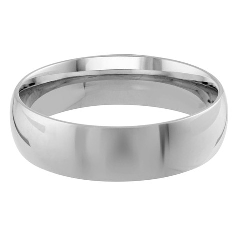 Mens 6 MM white gold dome comfort fit band (MDVB0099)