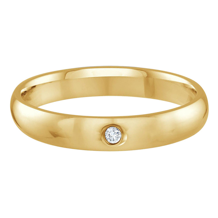 Mens 3 MM yellow gold dome comfort fit band, embellished with a .01 CT diamond (MDVB0110)