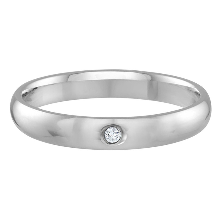Mens 3 MM white gold dome comfort fit band, embellished with a .01 CT diamond (MDVB0112)