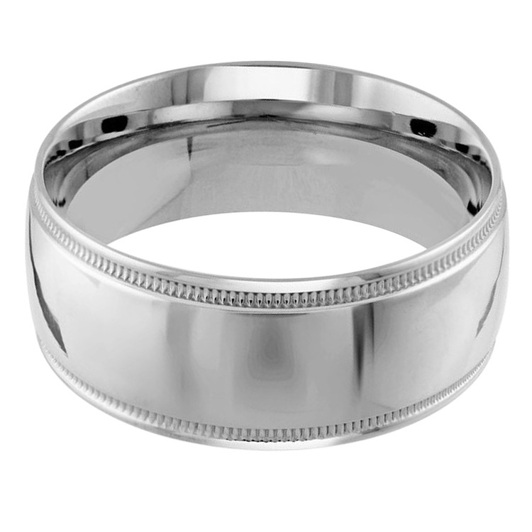 Mens 10 MM milgrain edge dome comfort fit white gold band (MDVB0119)