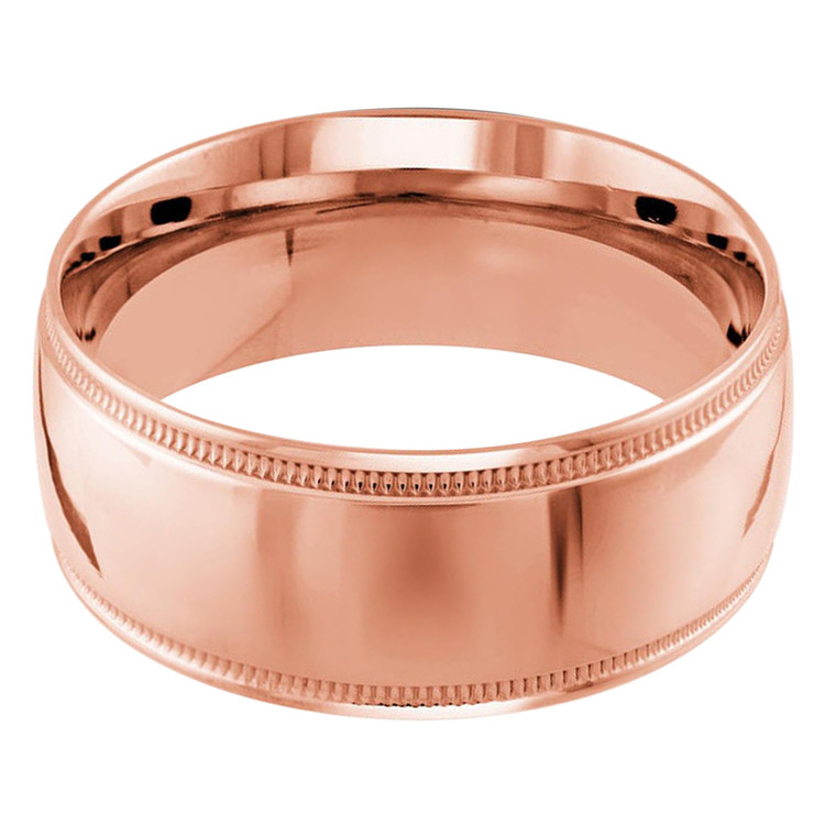 Mens 10 MM milgrain edge dome comfort fit rose gold band (MDVB0120)