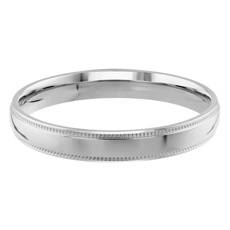 Mens 2 MM milgrain edge dome comfort fit white gold band (MDVB0122)