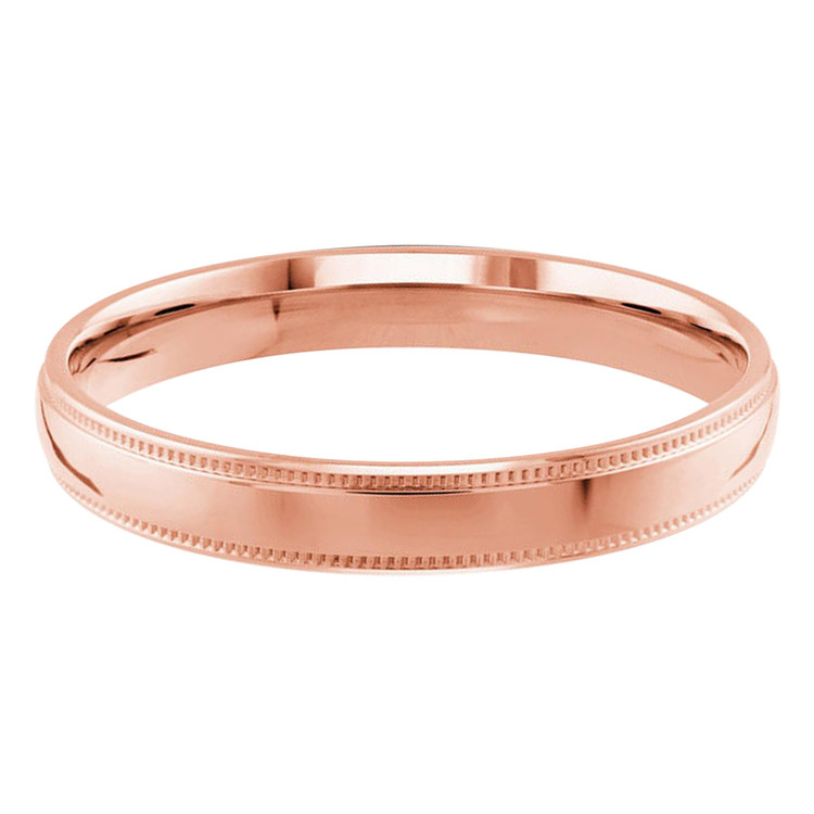 Mens 2 MM milgrain edge dome comfort fit rose gold band (MDVB0123)