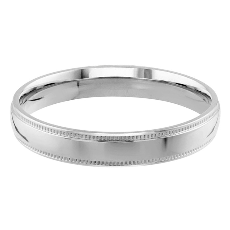 Mens 3 MM milgrain edge dome comfort fit white gold band (MDVB0125)