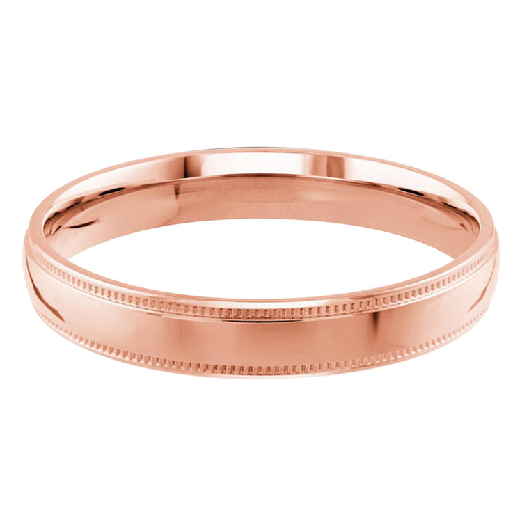 Mens 3 MM milgrain edge dome comfort fit rose gold band (MDVB0126)