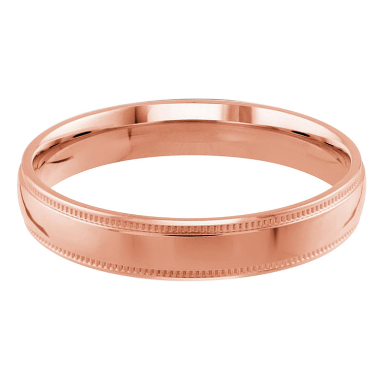 Mens 4 MM milgrain edge dome comfort fit rose gold band (MDVB0129)