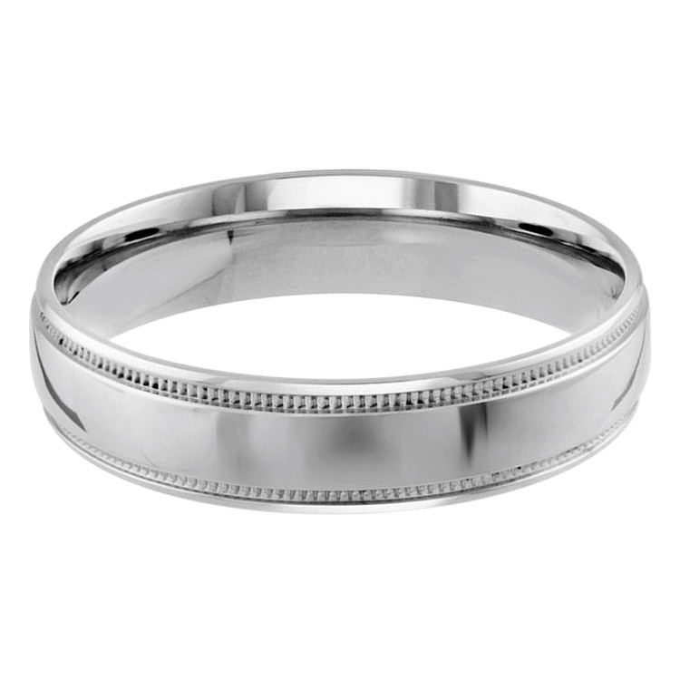 Mens 5 MM milgrain edge dome comfort fit white gold band (MDVB0131)