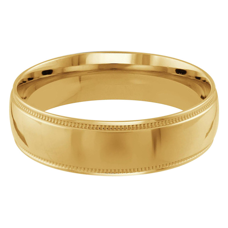 Mens 6 MM milgrain edge dome comfort fit yellow gold band (MDVB0133)