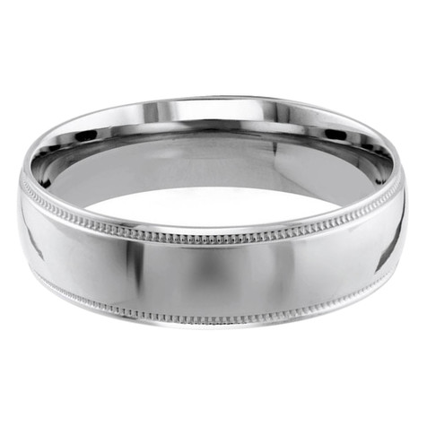 Mens 6 MM milgrain edge dome comfort fit white gold band (MDVB0134)