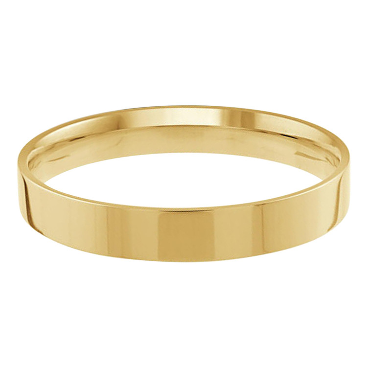 Mens 3 MM flat comfort fit yellow gold band (MDVB0151)