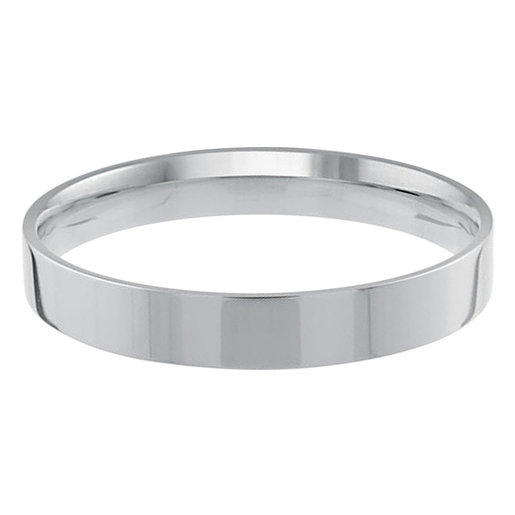 Mens 3 MM flat comfort fit white gold band (MDVB0152)