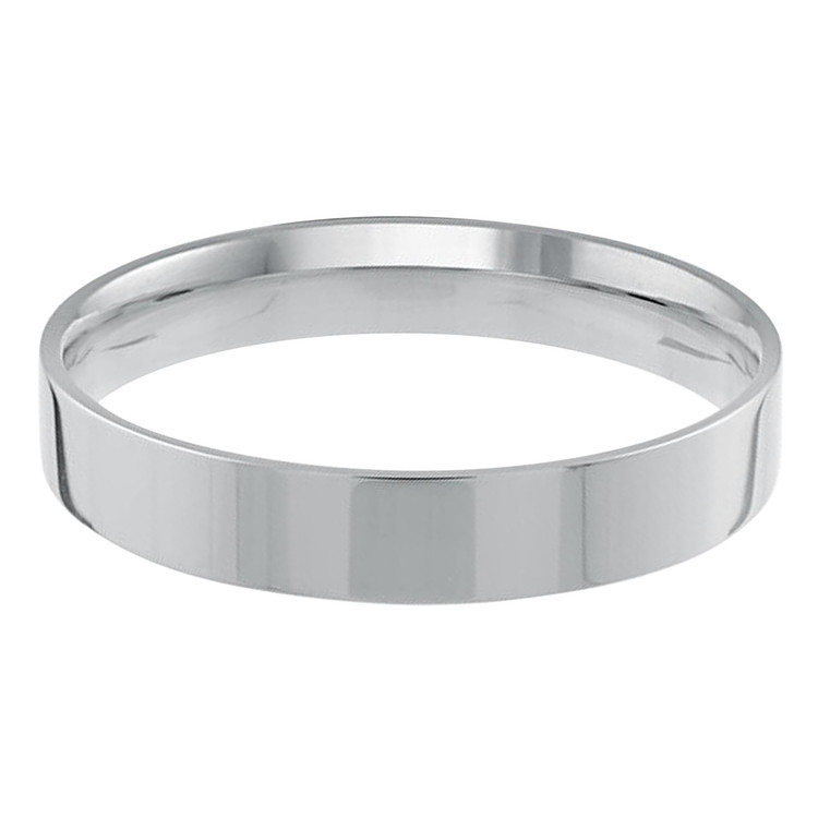 Mens 4 MM flat comfort fit white gold band (MDVB0155)