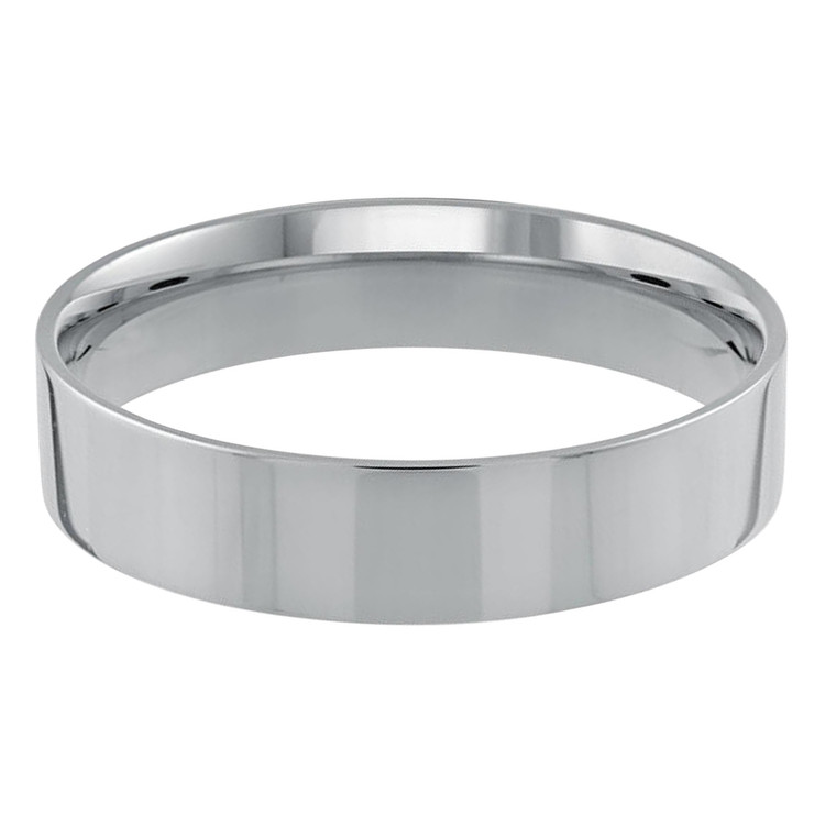 Mens 5 MM flat comfort fit white gold band (MDVB0158)