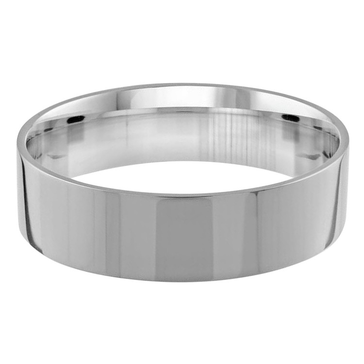 Mens 6 MM flat comfort fit white gold band (MDVB0161)