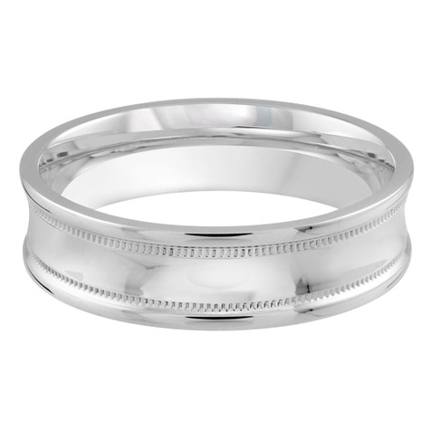 Mens 6 MM white gold high polish concave band with milgrain detailing (MDVB0173)
