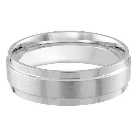 Mens 7 MM white gold satin finish dome band (MDVB0175)