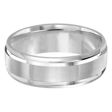 Mens 7 MM white gold satin center finish and high polish edged band (MDVB0176)