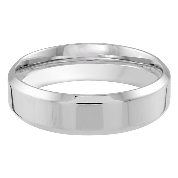 Mens 6 MM white gold satin center finish band (MDVB0178)