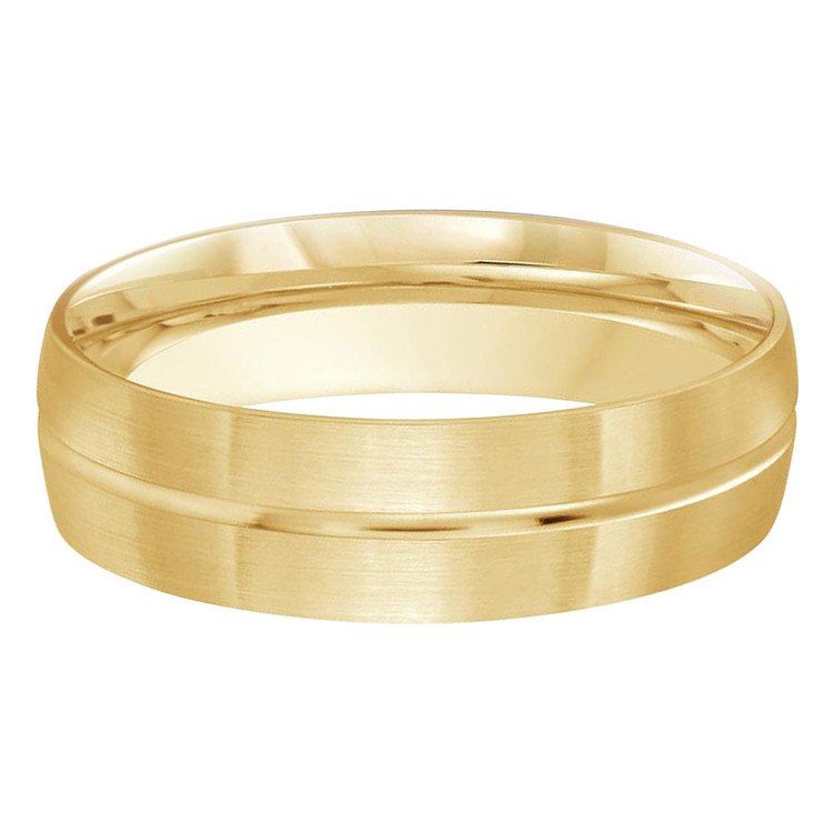 Mens 6 MM yellow gold satin finish dome band with center groove (MDVB0179)