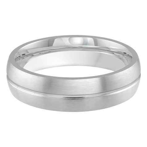 Mens 6 MM white gold satin finish dome band with center groove (MDVB0180)