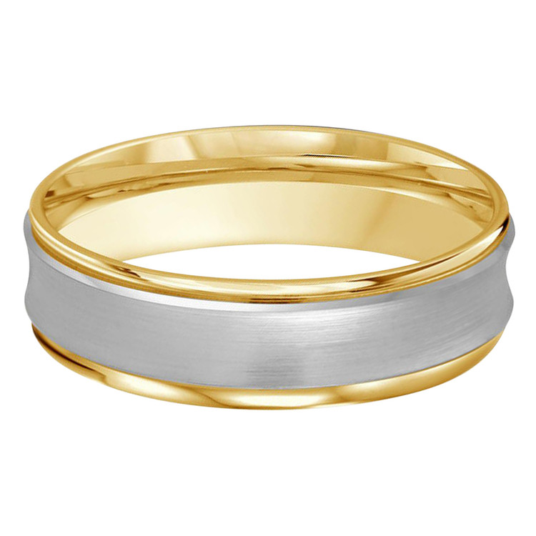Mens 7 MM two-tone white and yellow gold concave satin finish band (MDVB0183)