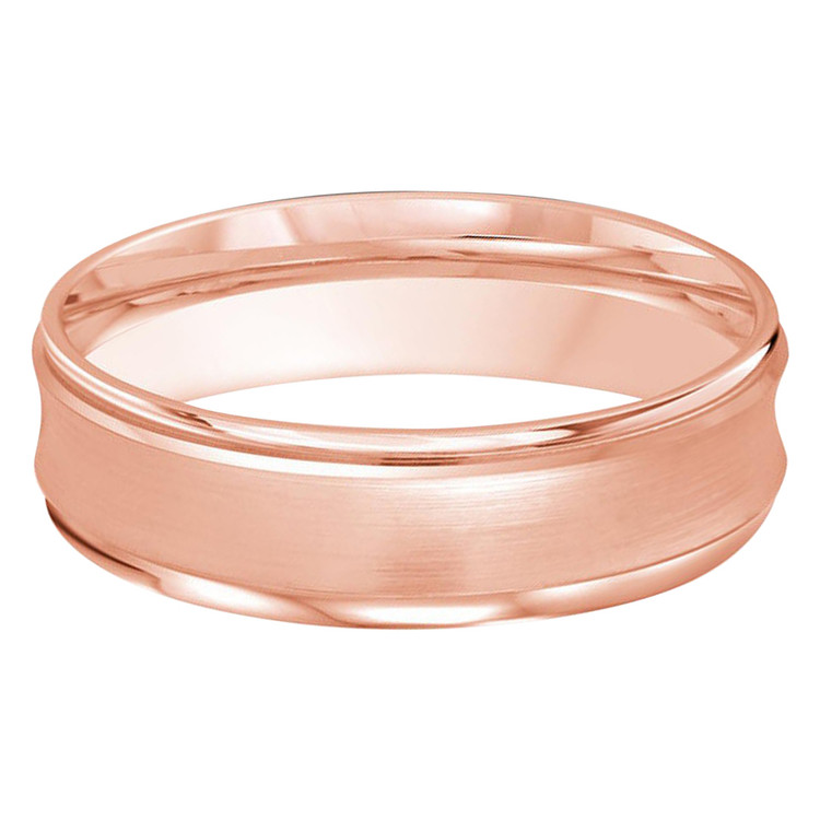 Mens 7 MM two-tone white and rose gold concave satin finish band (MDVB0184)