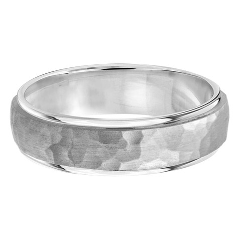 Mens 7 MM all white gold band with satin hammered center and high polish edges (MDVB0190)