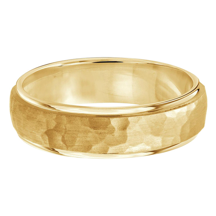Mens 7 MM all yellow gold band with satin hammered center and high polish edges (MDVB0191)