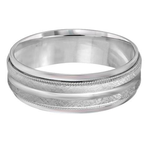 Mens 7 MM all white gold band with dual sectioned hammered center and milgrain detailing (MDVB0194)