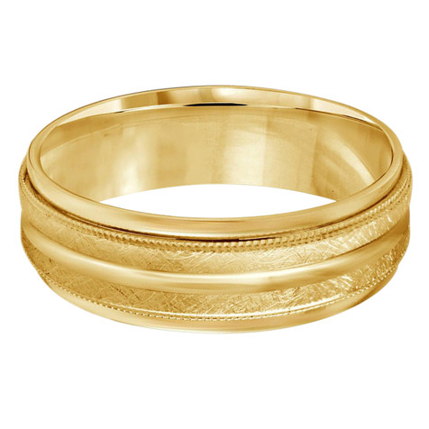 Mens 7 MM all yellow gold band with dual sectioned hammered center and milgrain detailing (MDVB0195)