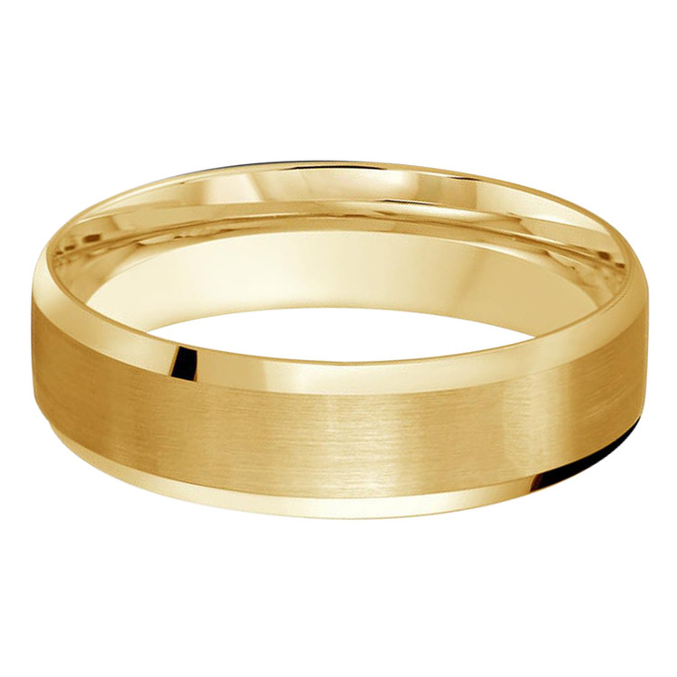 Mens 6 MM all yellow gold satin finish center band with high polish beveled edges (MDVB0198)