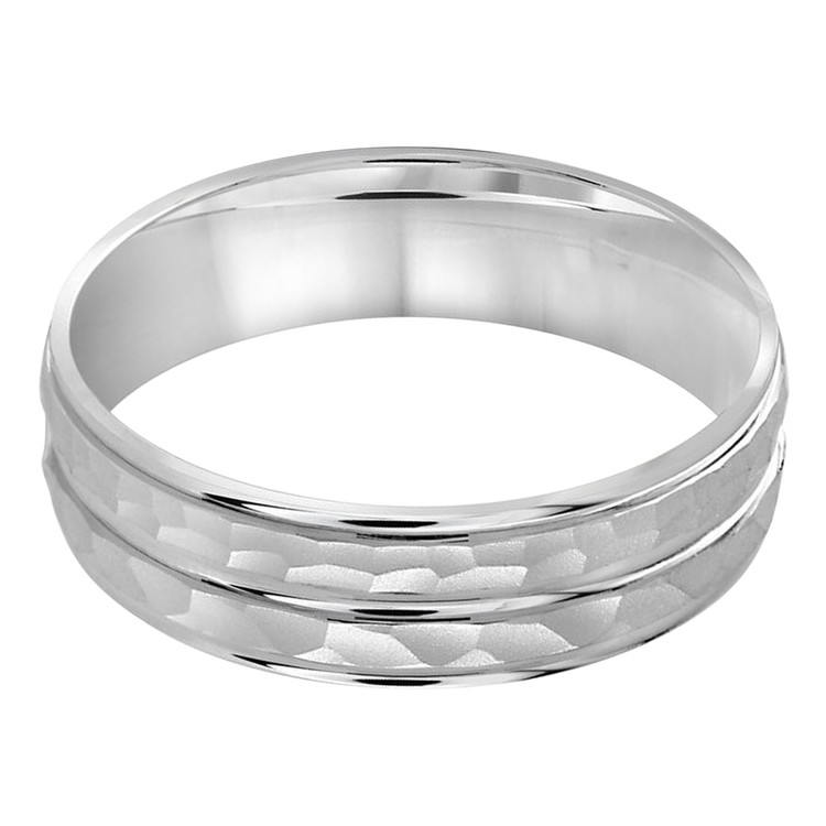 Mens 5 MM all white gold dual sectioned sandblast hammered center band (MDVB0200)