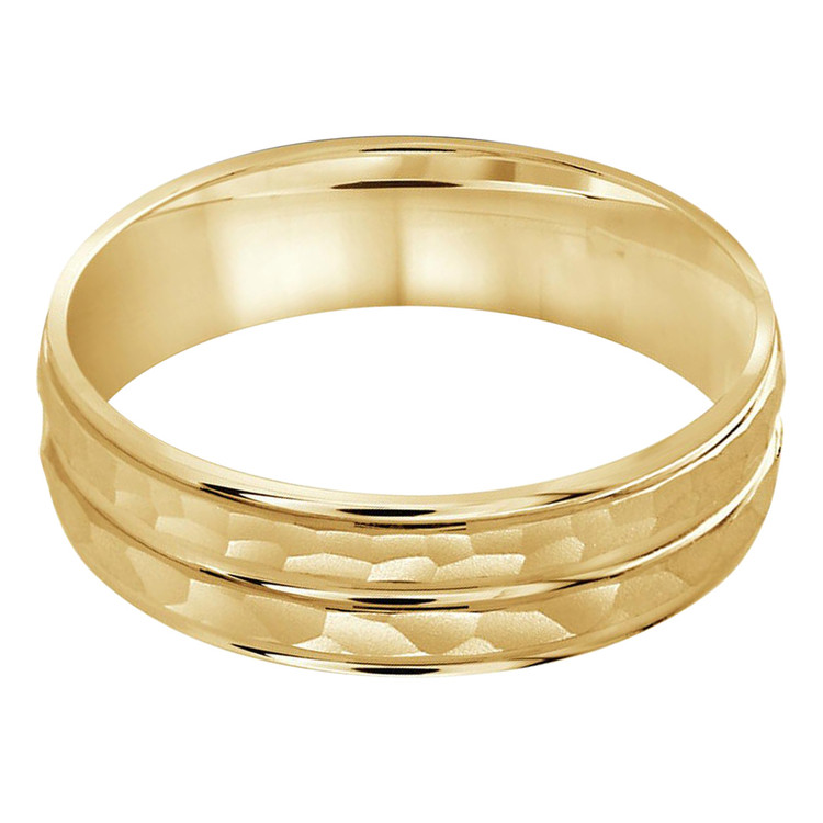 Mens 5 MM all yellow gold dual sectioned sandblast hammered center band (MDVB0201)