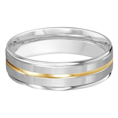 Mens 6 MM two-tone satin finish white gold band with a high polish yellow gold center strip (MDVB0202)