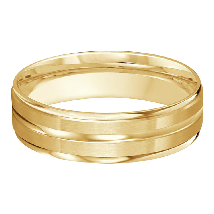 Mens 6 MM all yellow gold satin finish band with a high polish  center strip (MDVB0204)