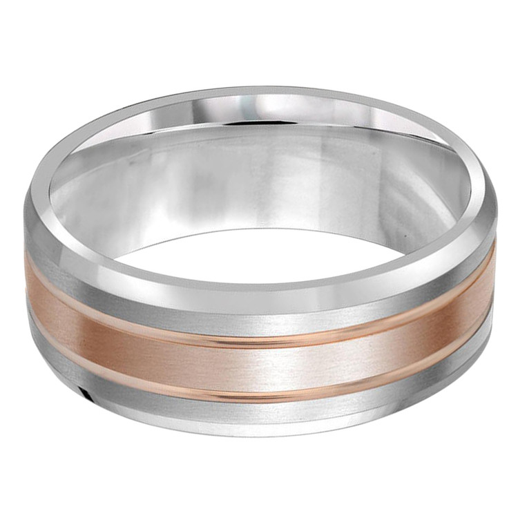Mens 8 MM two-tone white and rose gold satin finish band (MDVB0205)