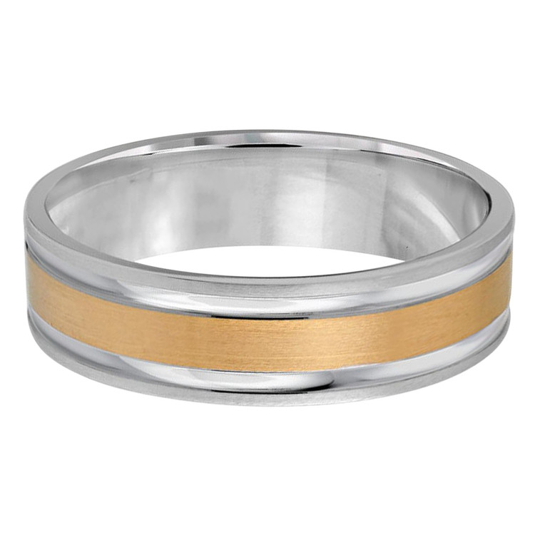 Mens 6 MM two-tone white and yellow gold band with satin center and high polish edges  (MDVB0207)